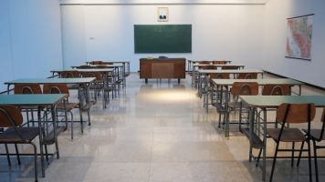 Empty school room after students expelled